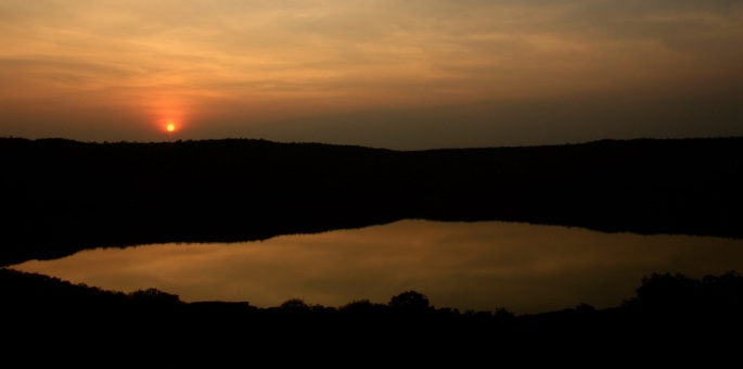 Lonar lake during sunset by Adityavikram More